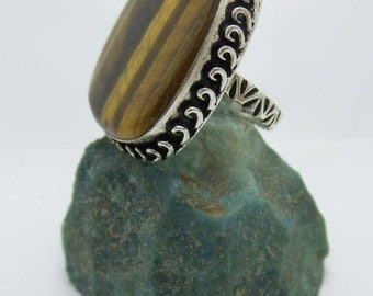 SALE Tiger Eye Sterling Silver ring, size 9.