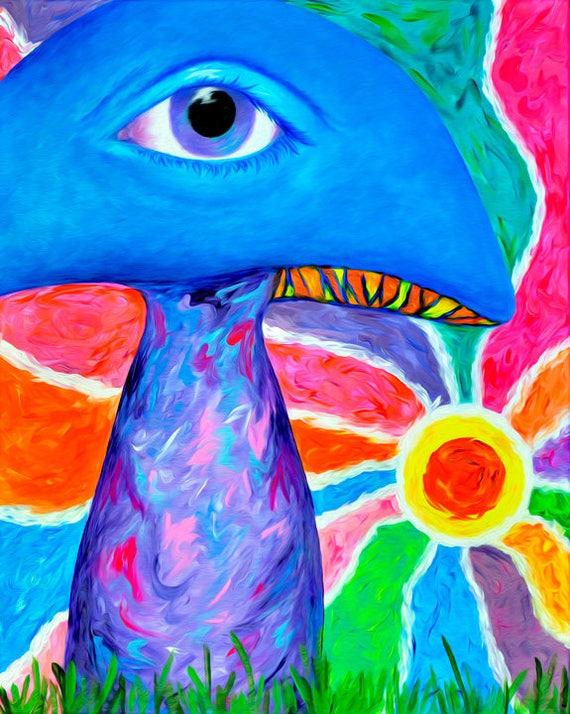 "Shrooms. Mushroom Art. Visionary Wall Art Print. Visionary Art. Surreal Art. Psychedelic Art. Giclee Art Print of my Painting ""All Seeing I"""