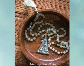 Morning Dew MALA long necklace // PATINA Thai BUDDHA pendant / Genuine silk tassel / jade / Yoga Mala Buddhist 108 bead Mala