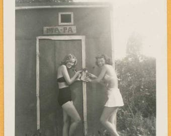 Original Vintage Snapshot Found Photo Vernacular Photo Beautiful Women in Bathing Suits Swimsuits Locking Someone in Outhouse -C20