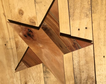 Pallet Wood Art, Pallet Wood 5 Point Star Wall Hanging, Texas Star, Rustic Holiday Wall Art, Rustic Decor, Rustic Star, Pallet Wood Star