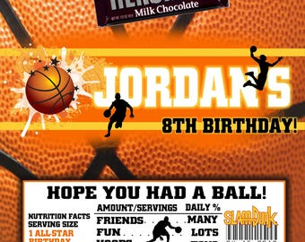 Printable Basketball Candy Bar Wrappers Fits 1.55 Oz Hershey Chocolate Bar Party Favors Girl and Boy Silhouettes