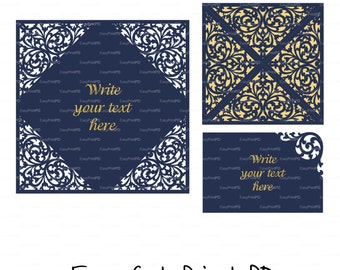 Set Invitations envelope card and RSVP, Accommodation card Template Swirls stencil Scroll pattern (svg dxf) laser cut Silhouette Cricut