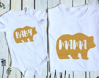 Mama Bear Baby Bear, Mommy and Me, Mama Baby Bear, Bears Family Set, Bear Matching Set, Mother's day gift, Baby Bear Onesie, Mama Bear Shirt