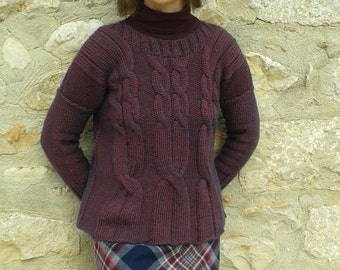 Hand knit cabled jumper / sweater