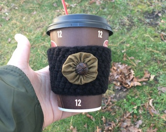 Neutral Black Coffee Cozy / Sleeve Crocheted