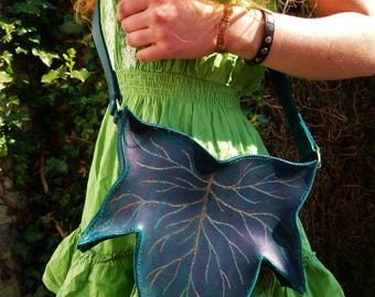 Hand Stitched Leather Ivy Leaf Shoulder Bag