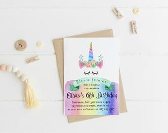 Unicorn Rainbow Invitation, Rainbow Unicorn Birthday Invitation, Unicorn Rainbow Party, Rainbow Unicorn Inviation, Rainbow Unicorn Party
