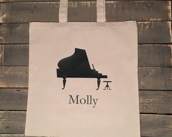 Piano Violin Music Customized Personalized Name Natural Color Canvas Tote Bag