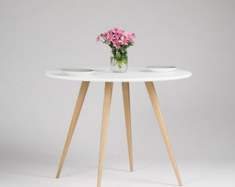 Round dining table, kitchen white table, with solid oak legs, scandinavian design