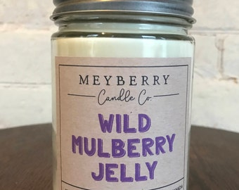 12oz Wild Mulberry Jelly Scented Candle, Hand Poured Soy Wax Candle, Meyberry Candles, Unique Gift, Soy Candles