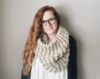 Chunky Knit Cowl Neckwarmer Circle Snood Scarf Extra-Thick    THE SYCAMORE