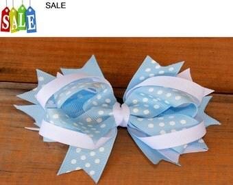 Over the top white and light blue grosgrain ribbon, girls hair bow, kids hair bow