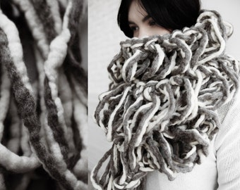 Chunky hand knitted extra longscarf