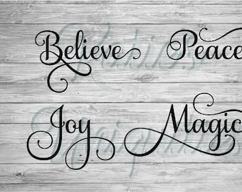 Christmas Words Believe Peace Joy Magic SVG DXF PNG Digital Cut File for use with cutting machines Cricut Silhouette
