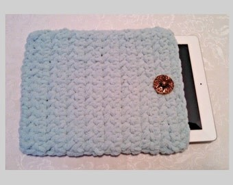Chenille 10 Inch Tablet iPad Cover with Vintage Button, Hand Crocheted Tablet Sleeve, Seafoam, #SF-B3-1, Washable, Free Domestic Shipping