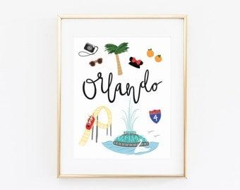 Orlando Art Print, Illustrated Orlando Wall Art, Orlando Pride, Orlando gifts