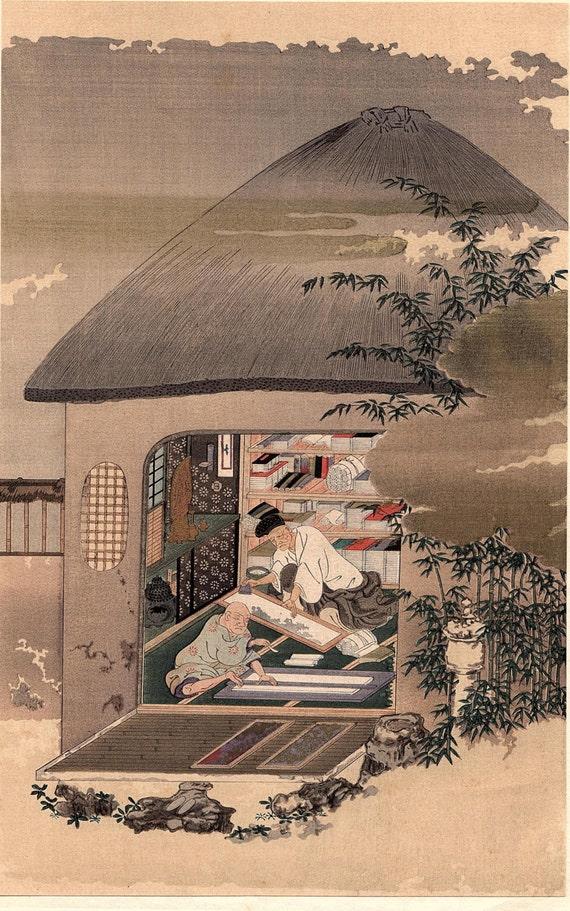 "1923, Japanese vintage Woodblock print Ukiyo-e, Fujiwara Takakane ""Screen-marker"""