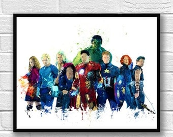 Avengers Watercolor Print, Superhero Poster, Hulk Iron Man Thor Captain America, Marvel Art, Wall Art, Home Decor, Kids Room Decor-658