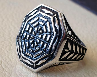 spider net  sterling silver 925 heavy ornament man ring shape any size style high quality biker animal  jewelry all sizes