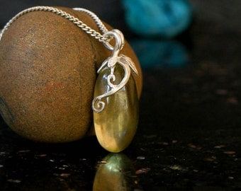 Lemon quartz necklace, sterling silver
