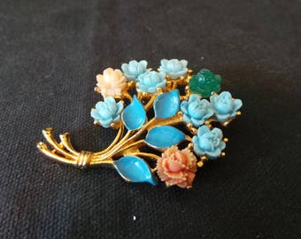 Vintage Gold Blue Floral Roses Bouquet Corsage Brooch Pin