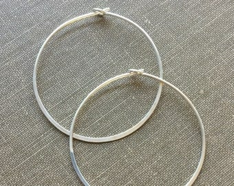 Hammered Hoop Earring 35mm Bright Sterling Silver Hand Formed Ear Wire One Pair (Two Pieces)