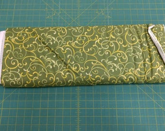 He Still Loves Me fabric. Green yellow scrolls curls swirls feathers curl swirl quilters cotton quilting Benartex 1737