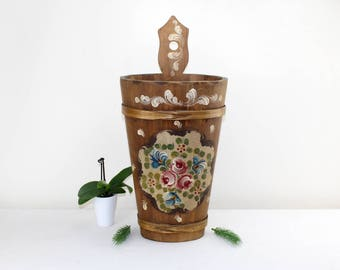 German antique umbrella stand Umbrella holder Wood from the Bavarian Alps Hall furniture Entrance area Precious handwork Vintage