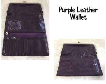 Purple wallet, Vintage leather wallet, Tri-folding wallet, Checkbook wallet, Tri fold wallet, Women's leather wallet