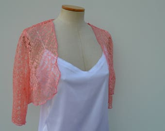 Clearance 30% Bolero lace cover-up coral chic bolero lace, pink bolero