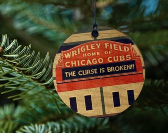 Wrigley Field Home of Chicago Cubs, The Curse Is Broken Christmas Wooden Ornament