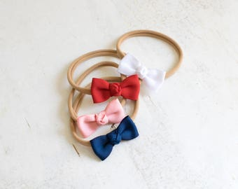 Small Classic Hair Bow on Headband for Babies and Toddlers | Small Baby Bow | Baby Headbands | Toddler Headbands | Red Hair Bow | Pink Bow