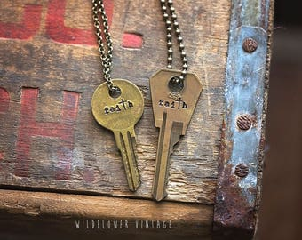 Faith Key Necklace | Hand Stamped Vintage Repurposed Cross Christian Religious Gift