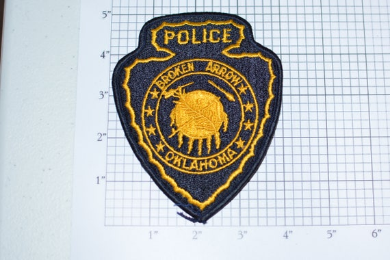 Broken arrow oklahoma police iron on vintage embroidered