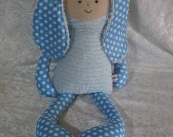 Bobby bunny, handmade soft toy bunny, chenille soft toy, baby shower gift, newborn gift.