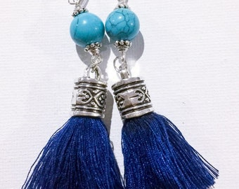Navy blue tassel earrings with turquoise howlite