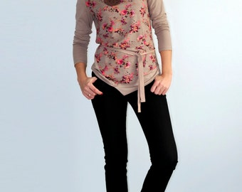 Asymmetric tunic Long sleeve blouse Сasual top Boho top Floral print top Beige jersey blouse  Flower ptint top Long sleeve shirt