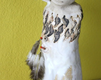 The girl feather-girl feather - white stoneware ceramic Sculpture, Keramik Sculpture