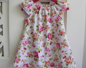Girls Dress Size 1 / White Floral Peasant Dress  / babies clothing / Size 1 / 12-24 months floral babies dresses / white dress