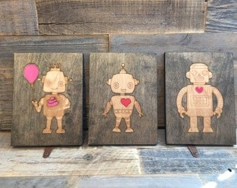 Laser cut &  engraved cute robot wall hanging collection