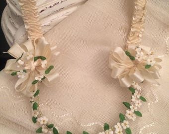 1920's Wedding Crown Headpiece & Veil / Flapper Style Cloth Flower and Satin Roosettes Headpiece / Embroidered Soft Net Tule Veil - Lovely!