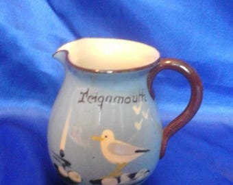 "Vintage Blue Devon Ware Babbacombe Pottery Seagull Jug ""Teignmouth"""