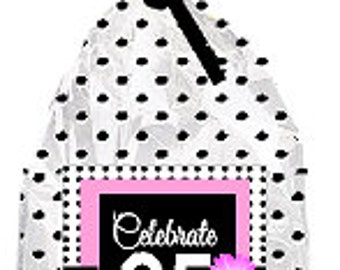 CakeSupplyShop Item#095BFC 95th Birthday / Anniversary Pink Black Polka Dot Party Favor Bags with Twist Ties -12pack