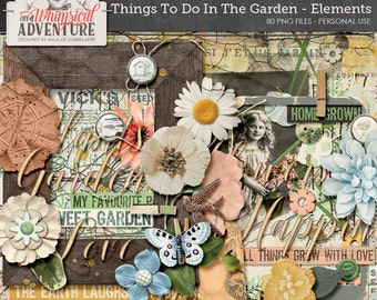 Garden nature outdoors digital download scrapbooking elements, mixed media illustrations paint vintage ephemera, artsy botanical