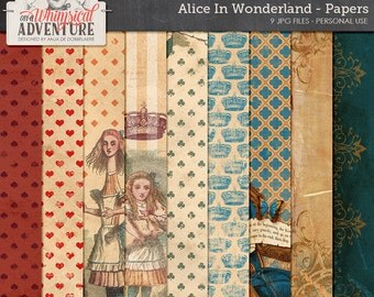 Paper Pack, Alice In Wonderland, Cheshire Cat, Digital Scrapbook Papers, Instant Download, 12x12, Blue Red Patterned Paper, Vintage Alice