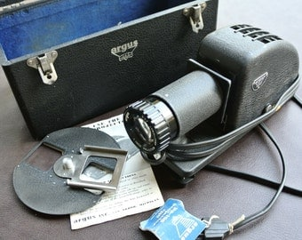 Vintage Argus PA-100 Slide Projector, Working Projector, Wood Case, Instructions, Very Good Condition
