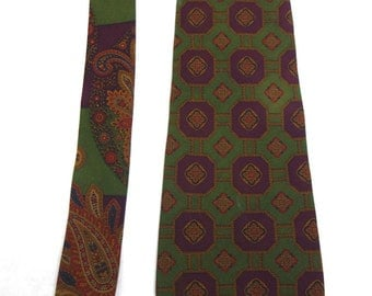 80s Tommy Hilfiger Purple and Olive Green Silk Tie // Paisley and Diamond Silk Tie