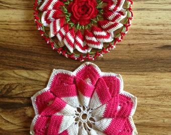 Vintage Crochet Coasters / Rose / Trivet / Set of 2