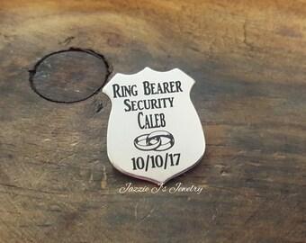 Custom Ring Bearer Security Badge With Pin Back, Police Wedding Ring Bearer, Ring Bearer Gift, Ring Bearer PinBack Badge, Wedding Lapel Pin